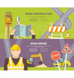 Road worker banner vector