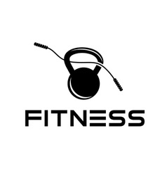 Skipping rope and kettlebell design template vector