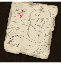 Treasure map on wooden background vector