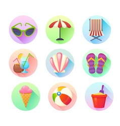 Flat trendy summer colorful icons set vector