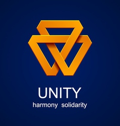 Unity triangle orange icon vector