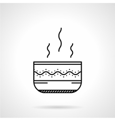 Soup bowl black line icon vector