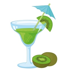 Glass with a green drink and kiwifruit vector