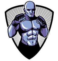 Mma fighter pose vector
