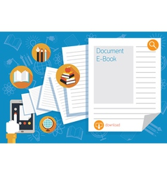 Hand and tablet with documents and icons vector
