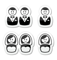 Gay  esbian marriage icons set vector