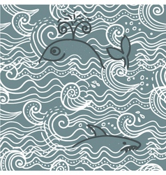 Whale screen print vector