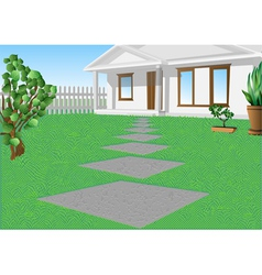 White house on a green lawn vector