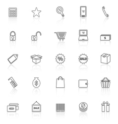 Shopping line icons with reflect on white vector