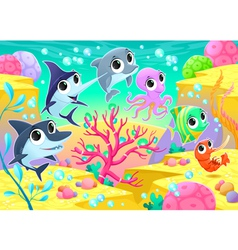 Funny marine animals under the sea vector
