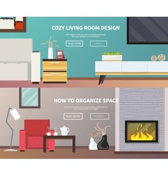 Living room furniture banner vector