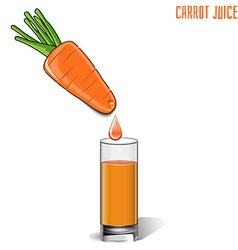 Glass of carrot juice and fresh carrots isolated vector