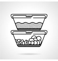 Lunch boxes black line icon vector