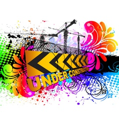 Colorful under construction sign vector