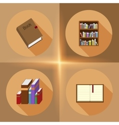 Book flat icons vector