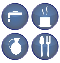 Round blue buttons for dining vector