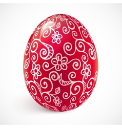 Red ornate easter egg vector
