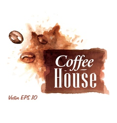 Set watercolor coffee badges 1 vector