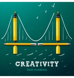 Creativity learning bridge made with pencils and vector