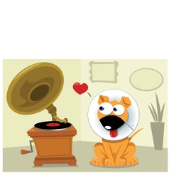 Funny dog and gramophone vector