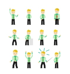 Set of cute young businessmen character poses vector