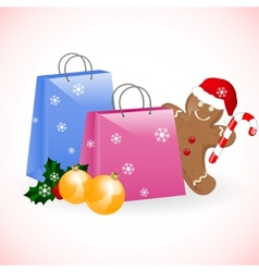 Christmas shopping bags with gingerbread man vector