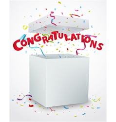 Congratulations message box with confetti vector