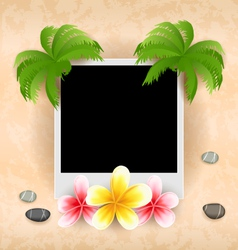 Empty photo frame with palm flowers frangipani sea vector