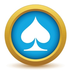 Gold spades card icon vector