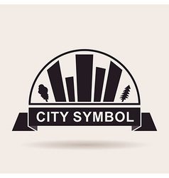 City logo buildings silhouette icon vector