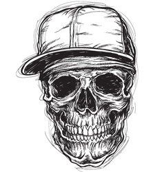 Sketchy skull with cap and bandanna vector