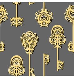Seamless pattern with keys vector