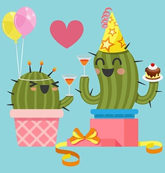 Loving couple of cactus at birthday party vector