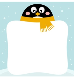 Cute penguin with winter blank banner vector