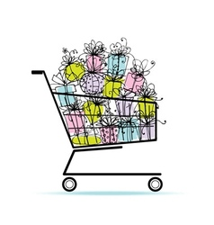 Gift boxes in shopping cart for your design vector
