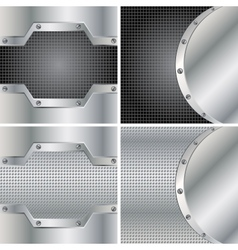 Four metal backgrounds vector