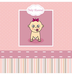 Baby girl birth greeting card vector