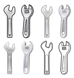 Diverse styles of spanner and wrench sets vector