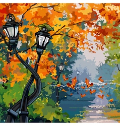 Cartoon street lights in the autumn park vector