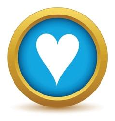 Gold heart card icon vector