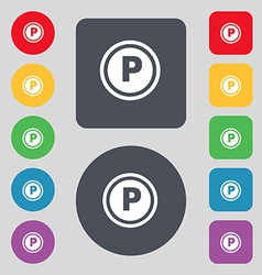 Car parking icon sign a set of 12 colored buttons vector