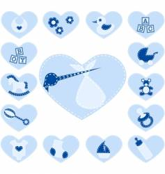 Baby boy buttons vector