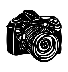 Black digital camera vector