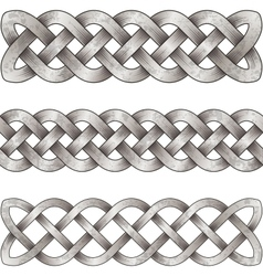 Set of silver celtic braids vector