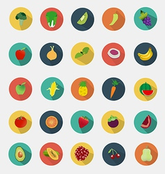 Fruit and vegetables icons flat design vector