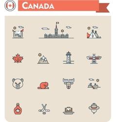Canada travel icon set vector