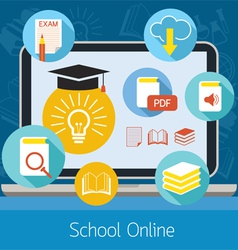Laptop with icons school online e-learning concept vector