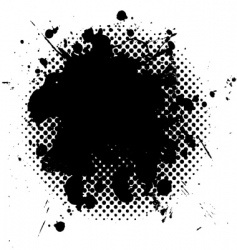 Halftone grunge ink splat black vector