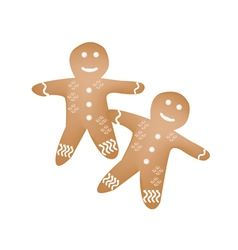 Two traditional christmas homemade gingerbread man vector