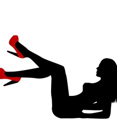 Sexy naked woman silhouette with red shoes vector